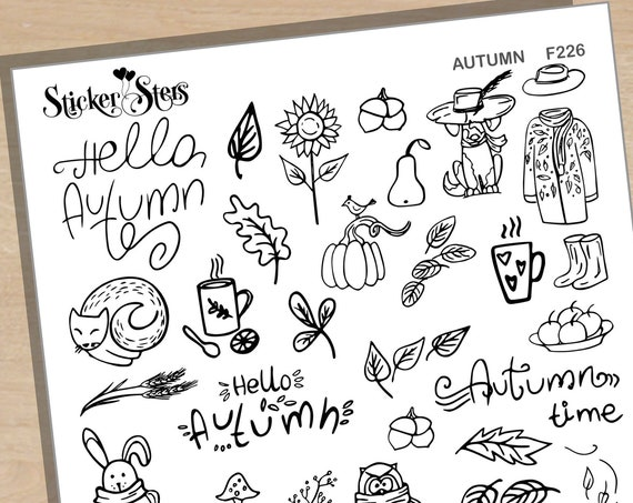 Autumn Months Book Foil Option Available | F226 Planner Stickers