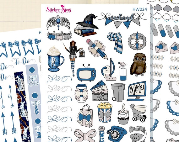 Wizard School Blue Slim Planner Stickers Mini Kit | HW021