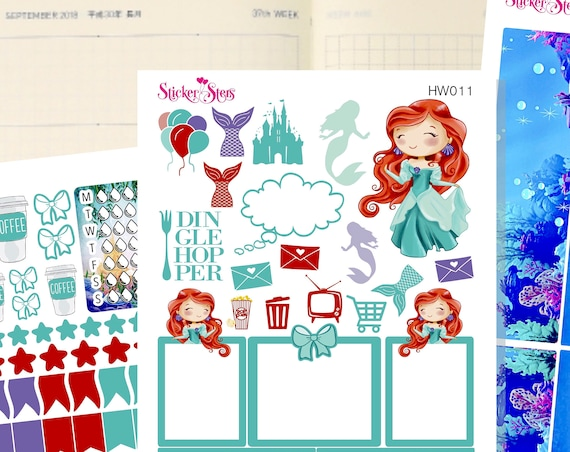 Mermaid Slim Planner Stickers Mini Kit | HW011
