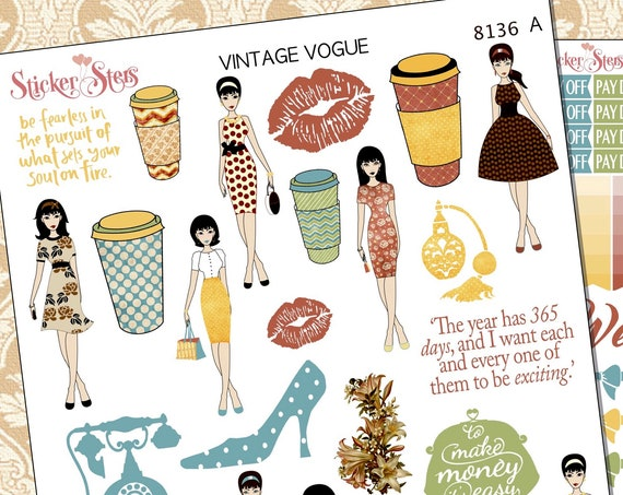 Vintage Vogue Planner Stickers Stickers Mini Kit | 8136