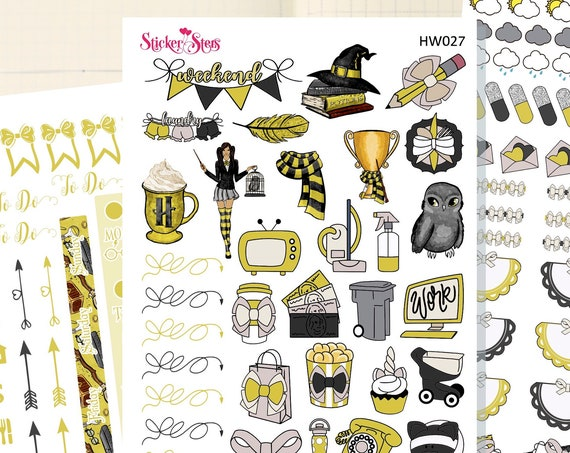 Wizard School Yellow Slim Planner Stickers Mini Kit | HW027