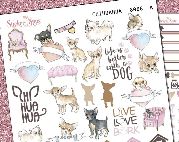 Chihuahua Dog Puppy Fur Baby | 8086 Complete canine care stickers for all planners, Cute and Functional