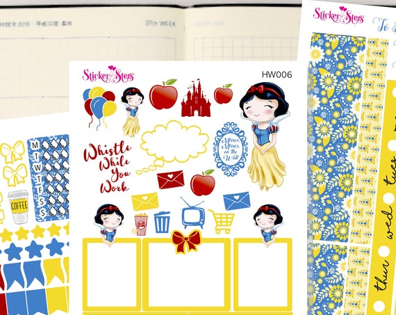 Snow White Slim Planner Stickers Mini Kit | HW006