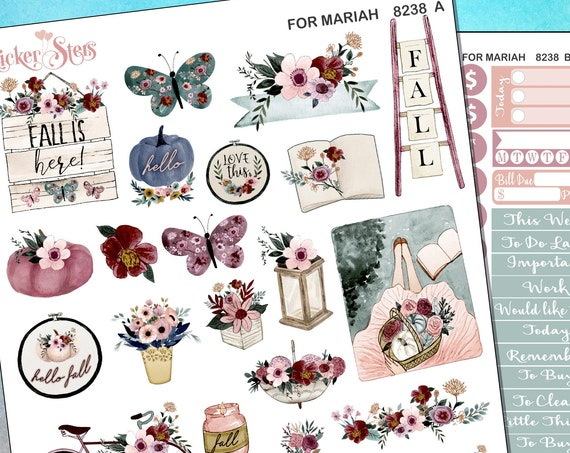 For Mariah Fall/Autumn Style Planner Stickers PLUS DieCut Planner Cart Mini Kit | 8238