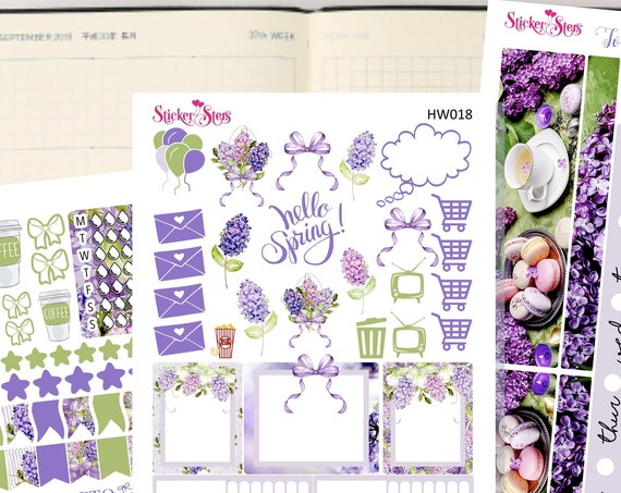 Hello Spring Lilacs Slim Planner Stickers Mini Kit | HW018