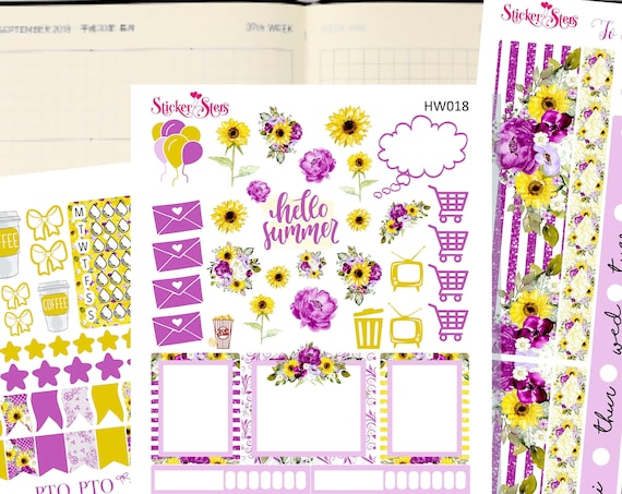 Hello Summer Sunflowers Slim Planner Stickers Mini Kit | HW017