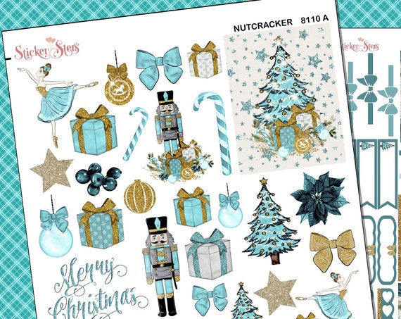 Blue Christmas Ultimate Stickers Planner Kit | 8110