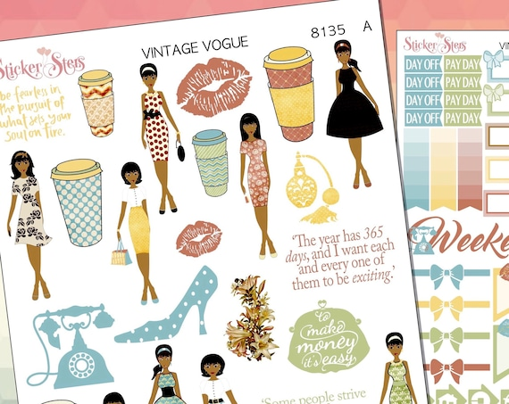 Vintage Vogue Planner Stickers Stickers Mini Kit | 8135