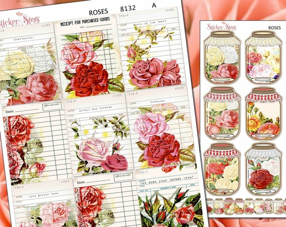 Roses Card Catalog Reminder Cute Mason Jars Planner Stickers Stickers Mini Kit | 8132