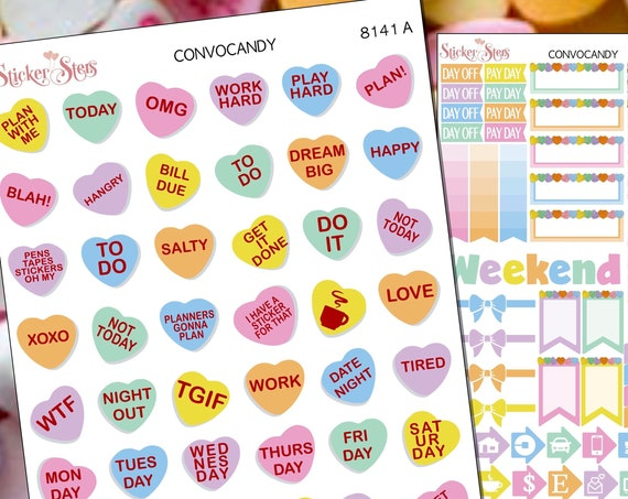 Sweet Convo Candy Hearts Planner Stickers Mini Kit | 8141