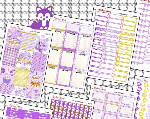 Happy Birthday Lavender Purple Gold Color Kit Planner Stickers Set | 8044