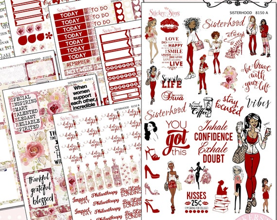 Sisterhood Sorority Sisters Planner Kit & A La Carte Pages   | 8150
