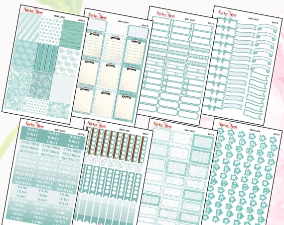 Mint Lace Color Kit Planner Stickers Set   8021