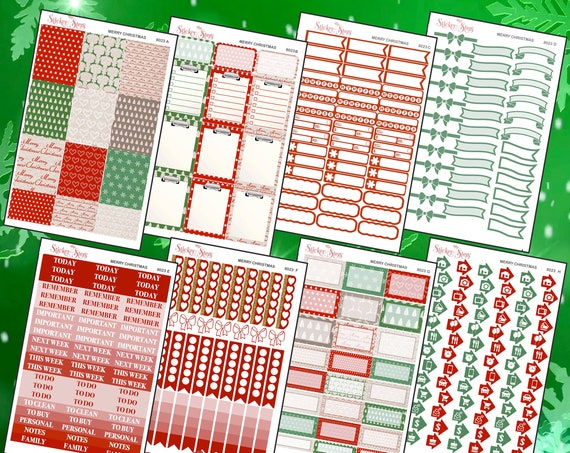 Merry Christmas Color Kit Planner Stickers Set | 8023
