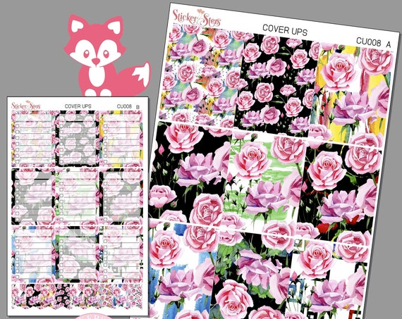 Tea Rose Planner Cover Ups Stickers Kit CU008