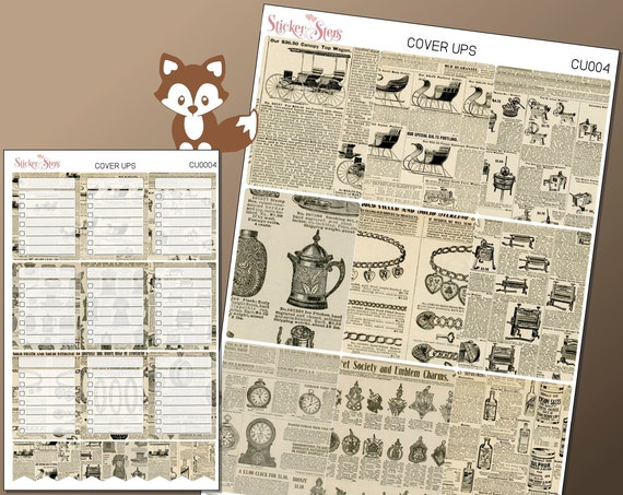 NewsPrint Planner Cover Ups Stickers Kit CU0004