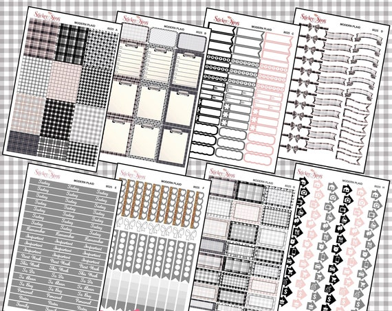 Modern Plaid Color Kit Planner Stickers Set | 8025