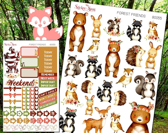 Forest Buddies Planner Stickers Mini Kit | 8055