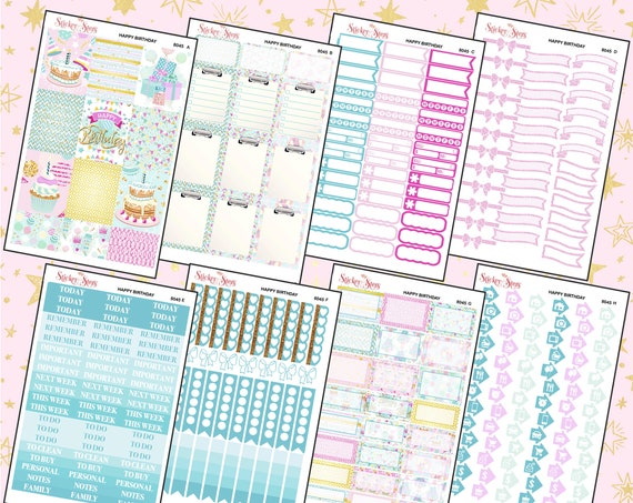 Happy Birthday Pastel Color Kit Planner Stickers Set | 8045