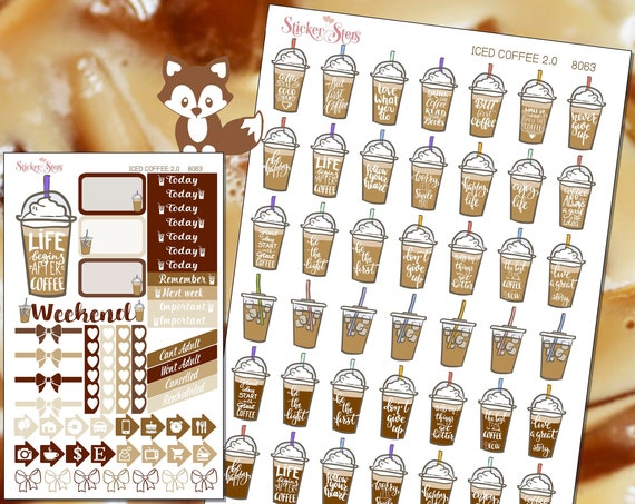 Iced Coffee Planner Stickers Mini Kit 8063