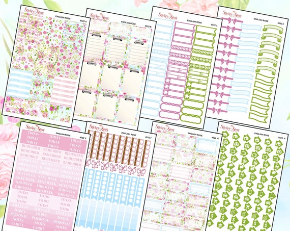 English Rose Color Kit Planner Stickers Set | 8022