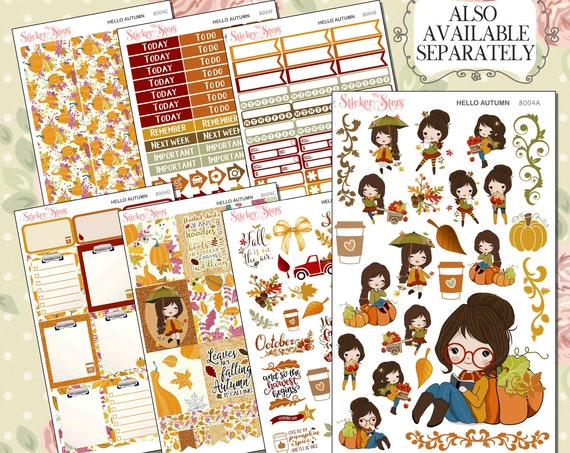 Hello Autumn Planner Kit & A La Carte Pages   | 8004
