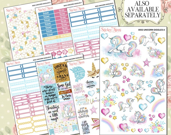 Unicorn Giggles Sticker Planner Kit & A La Carte Pages   | 8002