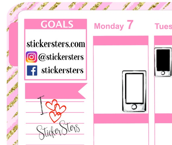 Cell Phone Small Sheet Planner Stickers Set Cute and Functional made for all Planners