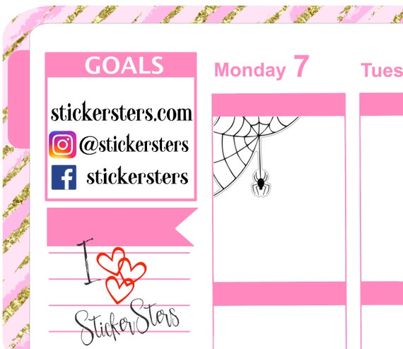 Spider & Web Small Sheet Planner Stickers Set Cute and Functional made for all Planners