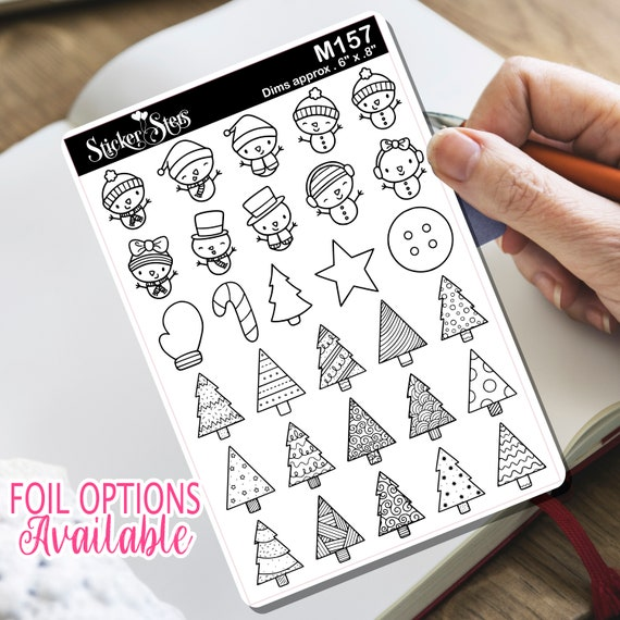 Cute Christmas Winter Trees Snowman Tiny Sticker Foil Option Available | M157