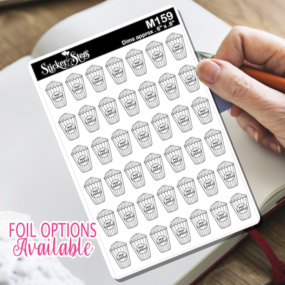 Popcorn at the Movies Tiny Sticker Foil Option Available | M159