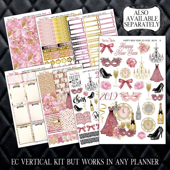 Happy New Year 2019 Rose Gold Planner Kit & A La Carte Pages   | 8076