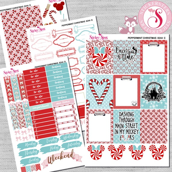 Peppermint Christmas Kit Planner Stickers Set | 8244