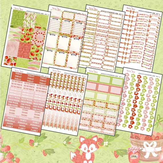 Jessica's Strawberry Jam Color Kit Planner Stickers Set | 8071