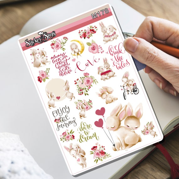 Bunny Love . Tiny Sticker Set | M178