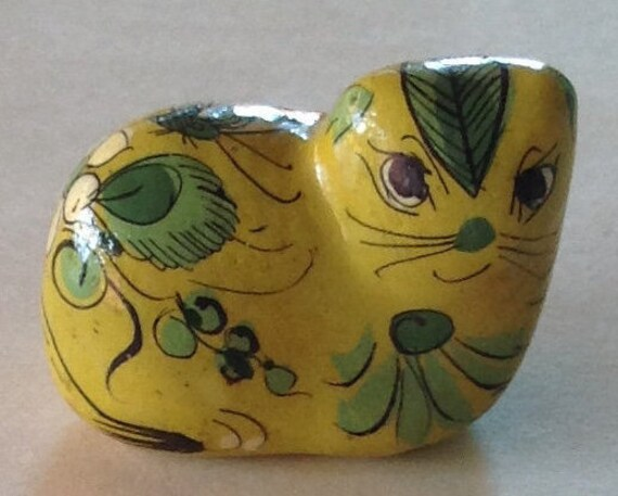 Mexican Tonala Vintage Figure, Collectible Pottery Yellow Cat, Play Therapy