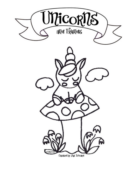 Unicorn & Friends Coloring Book (11 pages) Digital Download, Bunnies,  Birds,Gift for Girls,Gift for Boys, Valentine\'s Day, Birthday Present