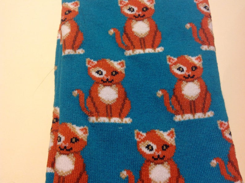 Teal Crew Socks for Women Orange Cat Art Socks and stickers