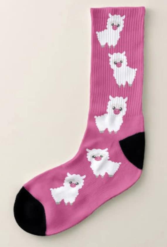 Birthday GIft Unisex Size Cute Llama Critter, Art Socks,Llama Love Socks Gift for Women or Men Fun Footwear