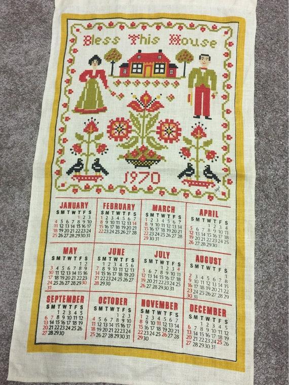 Vintage Calendar Towels 1970 1971 1972 1973 1975 1976 Etsy