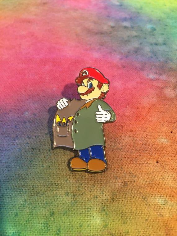 Super Mario Mushroom Dealer Hat Pin Etsy
