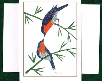 A Pair of Loving Bluebirds - Greeting Card