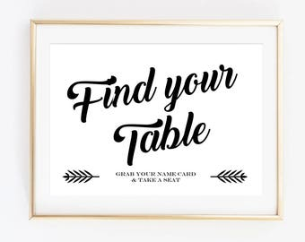 Find Your Table Sign, Printable Wedding Signs, Place Card Sign, Guest Seating Sign, Wedding Reception Signage - INSTANT DOWNLOAD - WP1BW