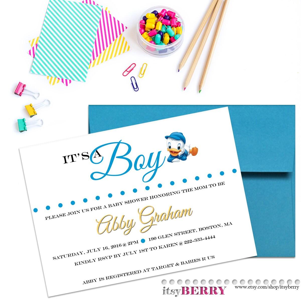 Boy Baby Shower Invitation Disney Theme Baby Showers Baby Etsy