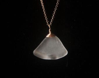 """Hawaiian Sea Glass Necklace, """"White Fan"""""""