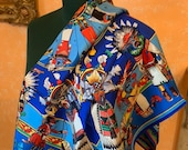 Hermes scarf Kachinas very very rare , by Kermit Oliver