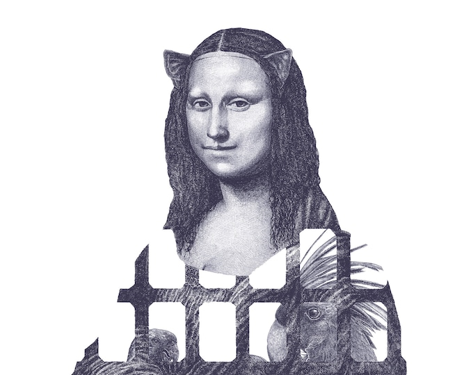 Fine Art Giclée Prints, Mona Lisa  (indigo blue) (Limited Editions of 76, different sizes)