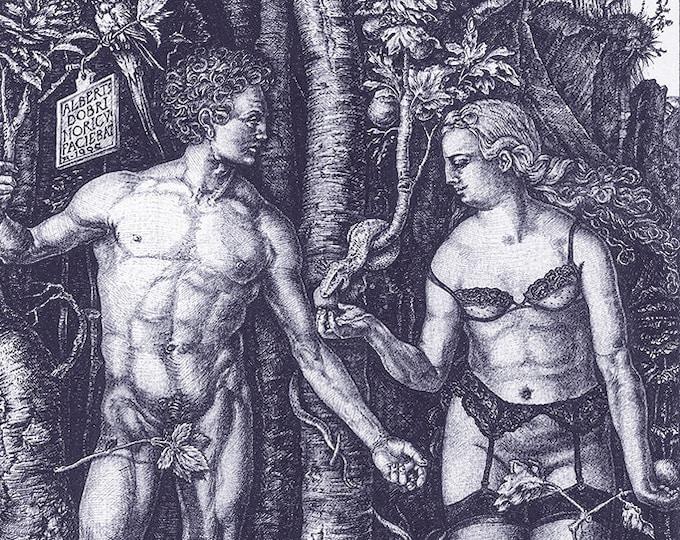 Fine Art Giclée Prints, antique, classic, vintage, surrealism, limited edition, Adam & Eve revisited (indigo blue)