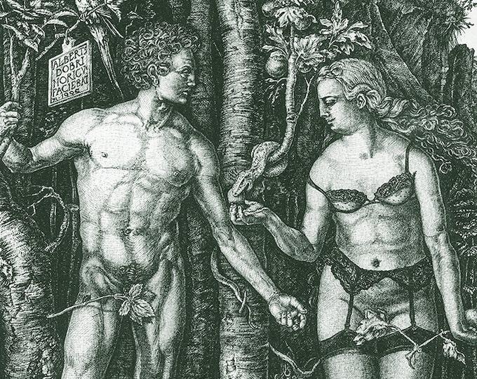 Fine Art Giclée Prints, antique, classic, vintage, surrealism, limited edition, Adam & Eve revisited (green)