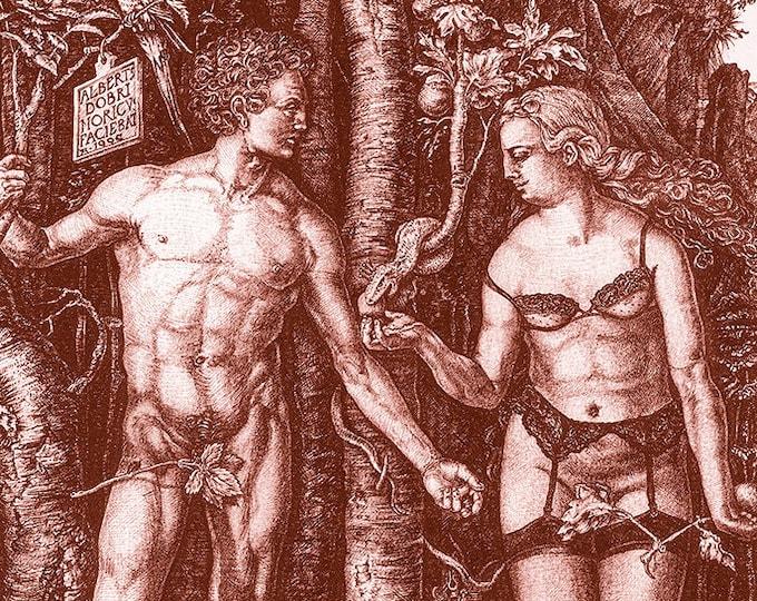 Fine Art Giclée Prints, antique, classic, vintage, surrealism, limited edition, Adam & Eve revisited (red)